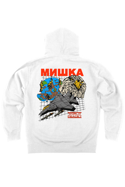 MISHKA (ミシカ) WORLD PEACE PULLOVER HOODIE WHITE