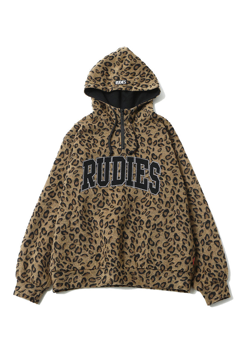 RUDIE'S COLLEGE BOA HALF-ZIPHOOD BROWN LEOPARD