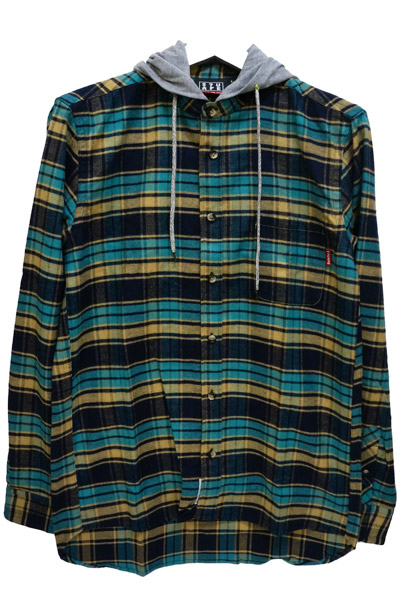 SQUARE (スクエア) HOOD CHECK SHIRTS GREEN×YELLOW