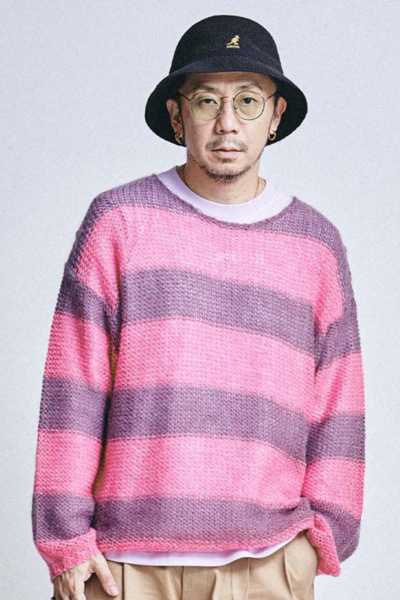 MUSIC SAVED MY LIFE (MSML) MOHAIR BORDER KNIT PINK