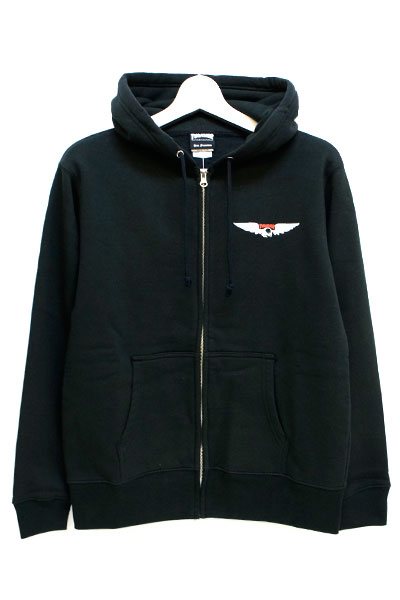 THRASHER TH96201 WING ZIP HOODIE BLACK
