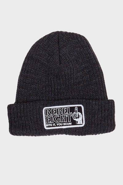 REBEL8 Bite It Beanie Charcoal