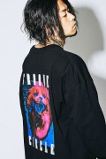 MUSIC SAVED MY LIFE M201-02L1-CL01 CAT OVERSIZED LONG SLEEVE TEE BLACK