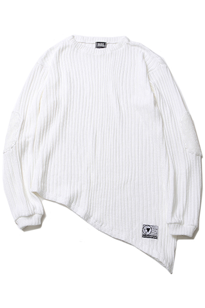 SILLENT FROM ME GHOST -Asymmetry Knit Sweater- WHITE