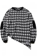 SILLENT FROM ME GHOST -Asymmetry Knit Sweater- BLACK CHIDORI