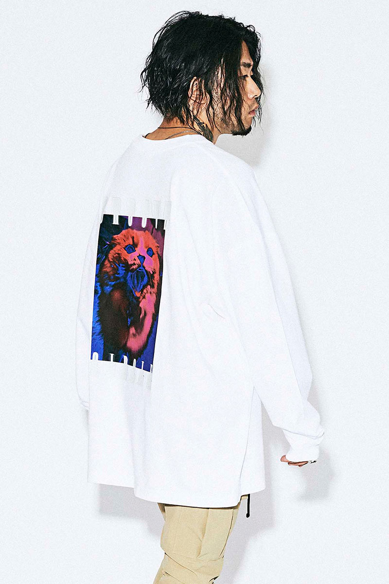 MUSIC SAVED MY LIFE M201-02L1-CL01 CAT OVERSIZED LONG SLEEVE TEE WHITE