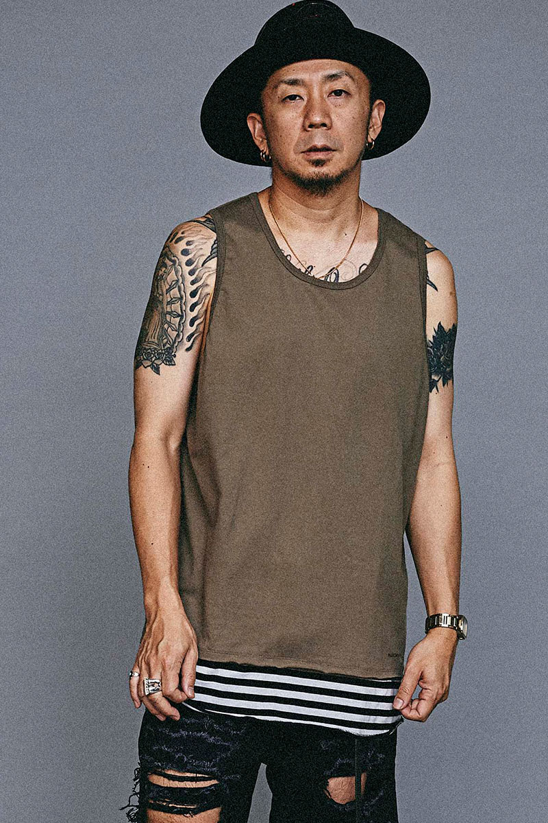 【予約商品】MUSIC SAVED MY LIFE M101-02L1-CS01 BORDER LAYERED TANK TOP KHAKI