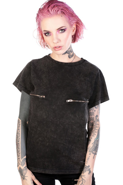 DISTURBIA CLOTHING Lori Zip Tee