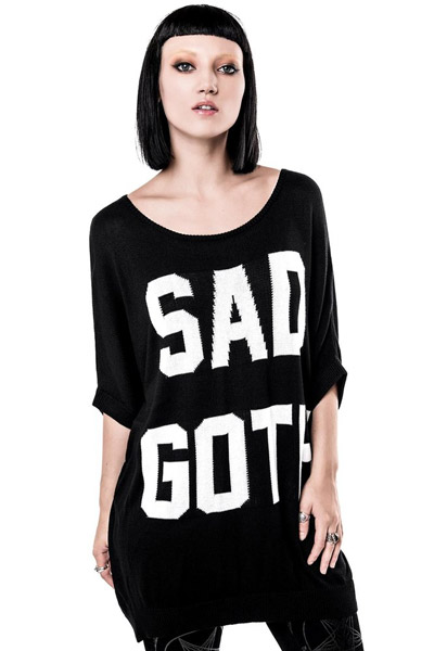 KILL STAR CLOTHING (キルスター・クロージング) Sad Goth Batwing Knit Top [B]