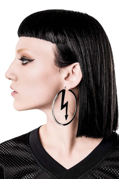 KILL STAR CLOTHING (キルスター・クロージング) Number 7 Hoop Earrings [S]