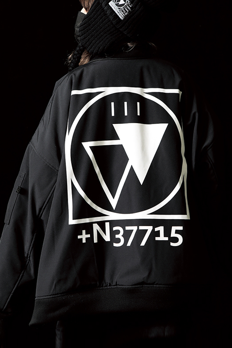 SILLENT FROM ME CRYPTIC -Flight Jacket-BLACK/WHITE
