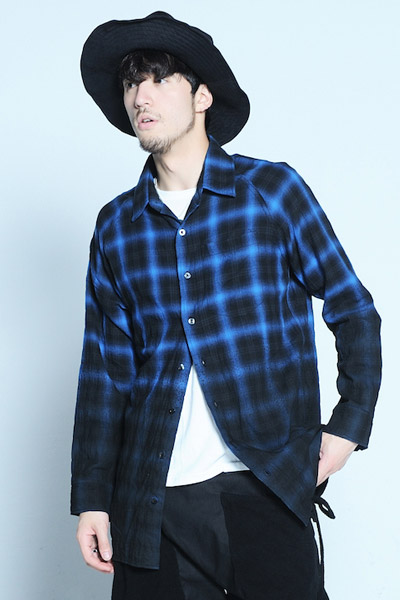 VIRGO Gradation check middle shirts BLUE