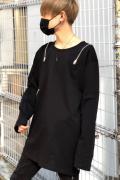 CIVARIZE【シヴァーライズ】DrollレースアップZIP長袖Tシャツ Black(ブラック)