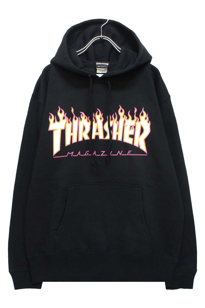 THRASHER TH95233 FLAME PINK OUTLINE HOODIE SWEAT PARKA BLACK