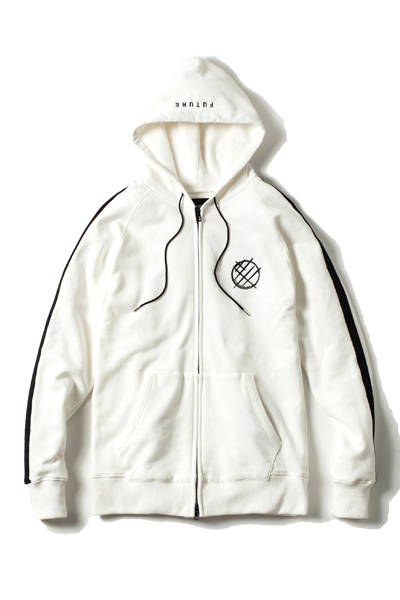 LILWHITE(dot) (リルホワイトドット) -ICONIC- FRONT ZIP HOODIE WHITE