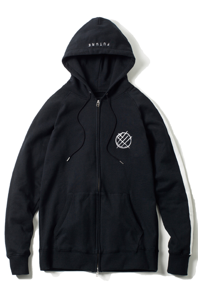 LILWHITE(dot) (リルホワイトドット) -ICONIC- FRONT ZIP HOODIE BLACK