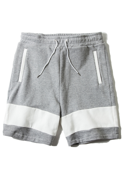 LILWHITE(dot) (リルホワイトドット) SWITCHING SWEAT SHORTS GREY