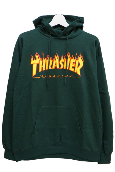 THRASHER FLAME LOGO HOOD FOREST GREEN