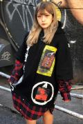 """NOT COMMON SENSE """"Break Out"""" LAYERED HOODIE BLACKxRED CK"""