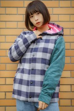 ROLLING CRADLE CHECK HOOD JACKET BLUE