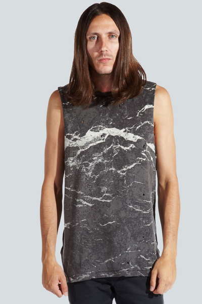 DROP DEAD CLOTHING Marble Tank Top BLACK