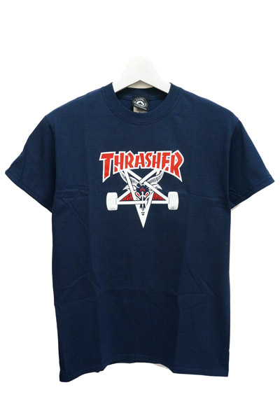 THRASHER TWO-TONE SKATEGOAT S/S NAVY