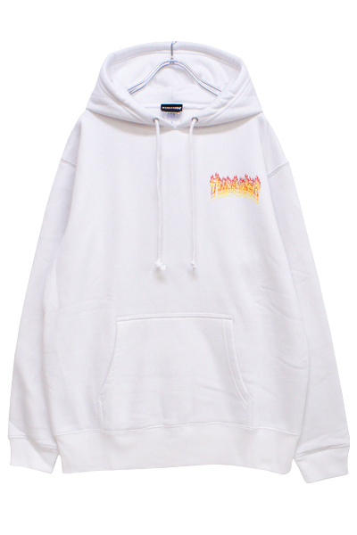THRASHER TH85227 FLAME OVERLAY HOODIE WHITE/YELLLOW