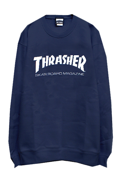 THRASHER TH8401 MAG LOGO SWEAT NAVY/WHITE