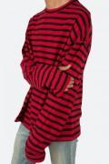 mnml(ミニマル) STRIPE BOL L/S TEE Black/Red