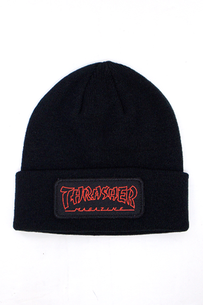 THRASHER 3131375 CHINA BANKS PATCH BEANIE BLACK