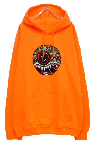 MISHKA SP181303PO FLYING TIGER KEEP WATCH PULLOVER HOODIE ORANGE