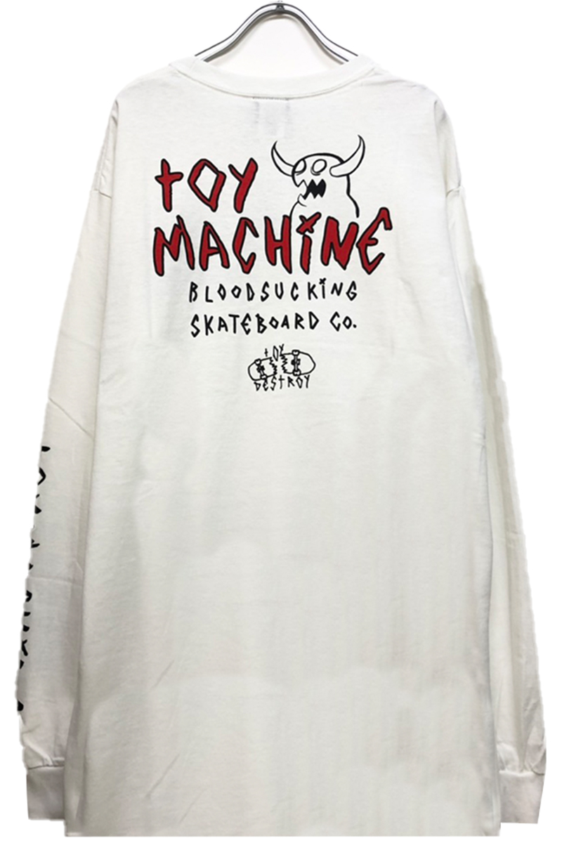 TOY MACHINE TMP20LT2 MONSTER MARKED EMBRO LONG TEE WHITE
