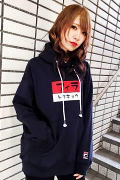 FILA TOKYO ユニセックス プルオーバーフーディ BLACK