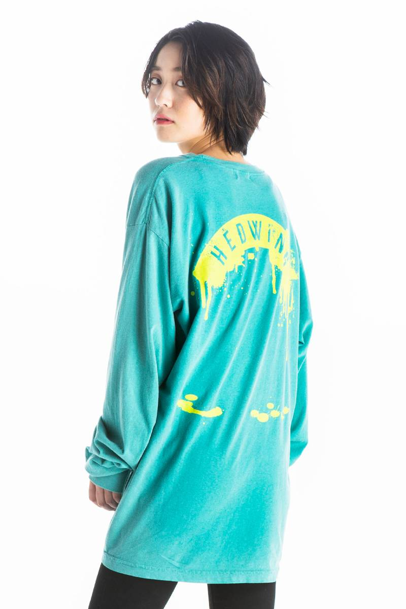 HEDWiNG Garment Dyed Longsleeve T-shirt Aquagreen