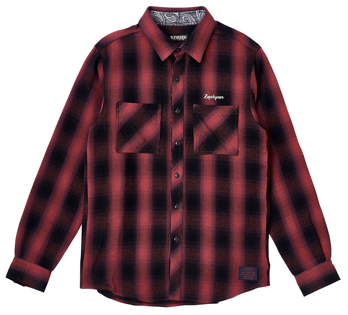 【予約商品】Zephyren(ゼファレン)CHECK SHIRT L/S - Resolve - BLACK / RED