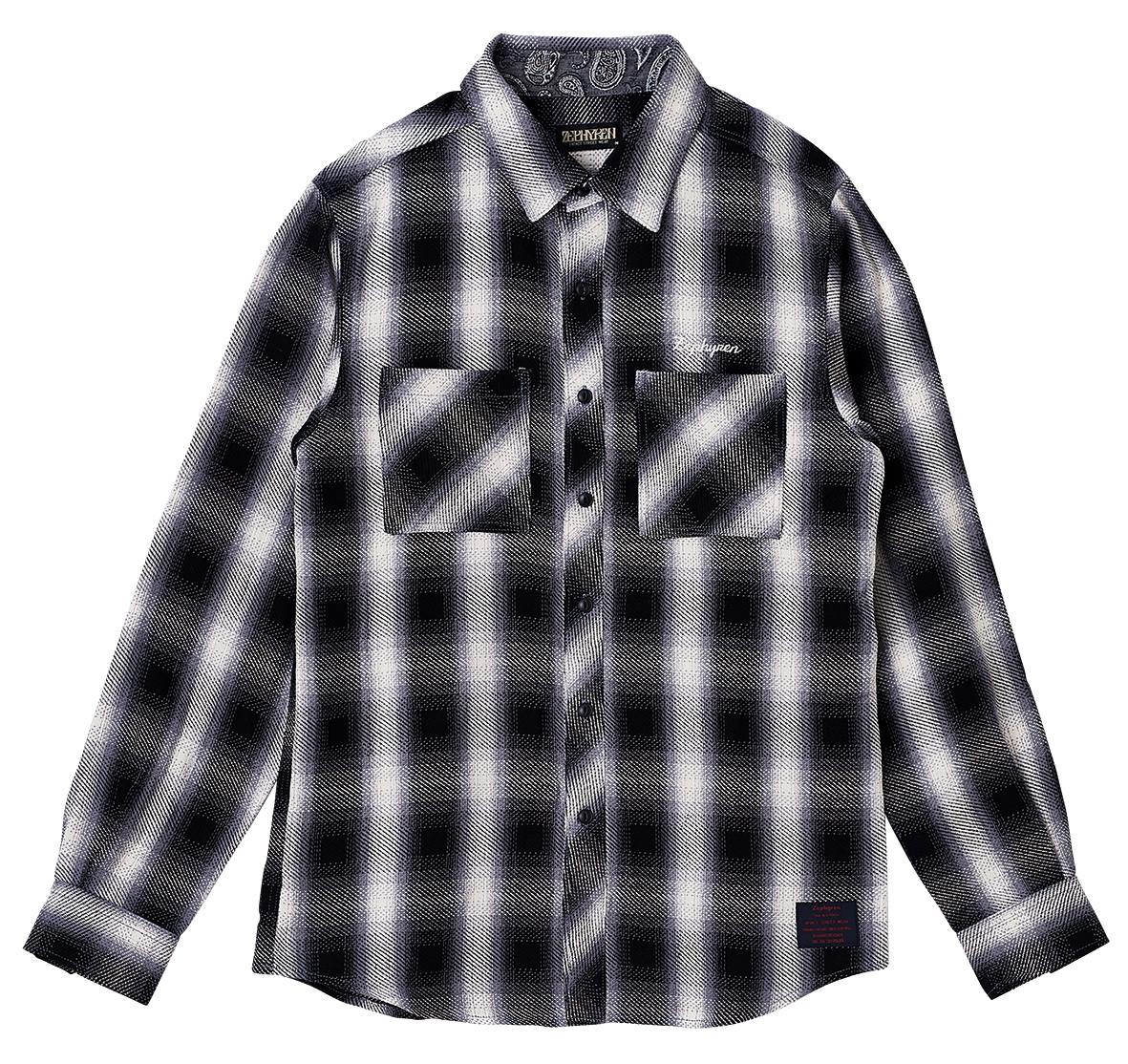 【予約商品】Zephyren(ゼファレン)CHECK SHIRT L/S - Resolve - BLACK / WHITE