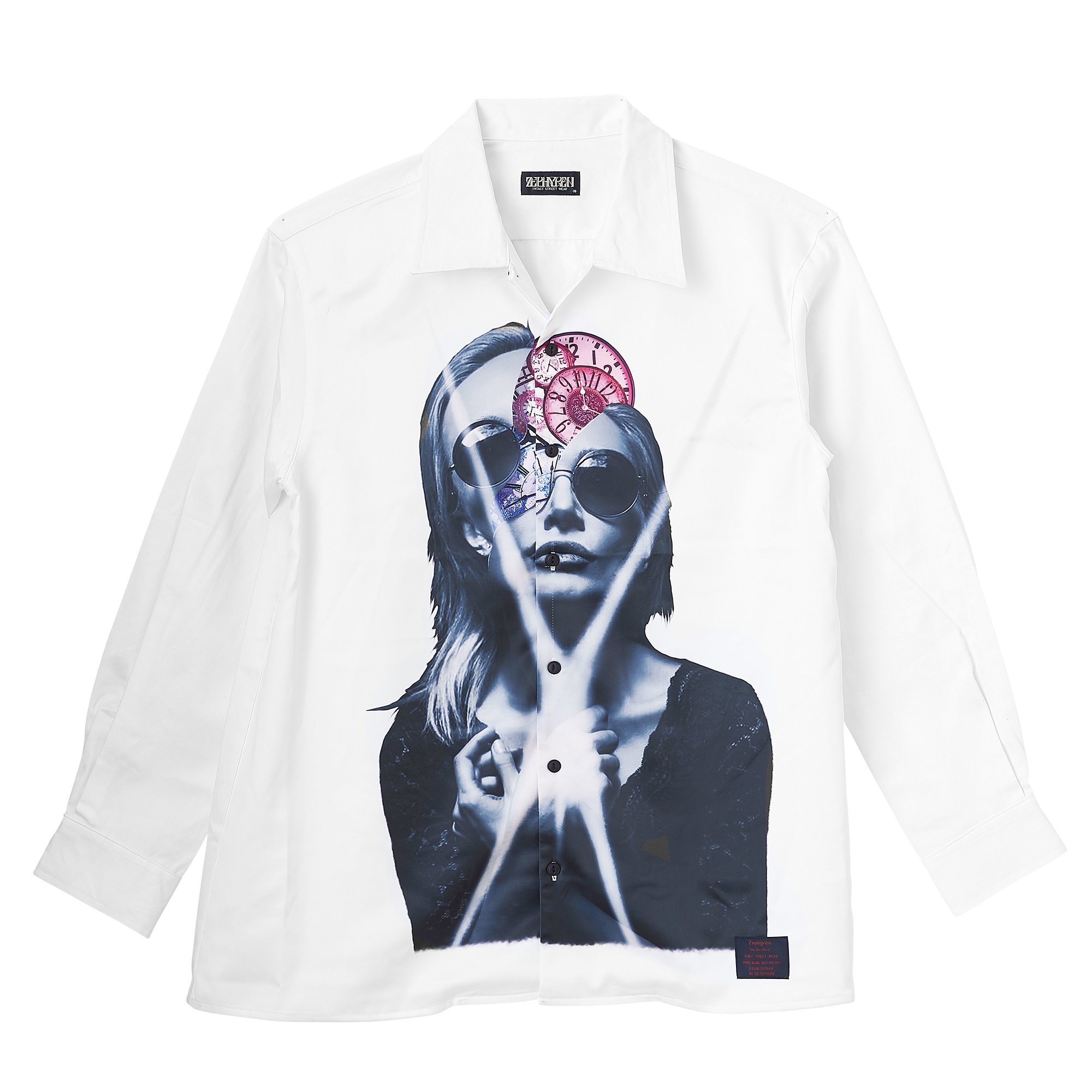 Zephyren(ゼファレン)PHOTO PRINT SHIRT L/S WHITE / variat omnia tempus