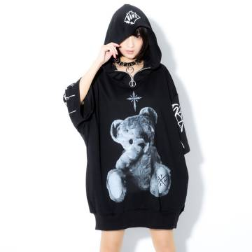 TRAVAS TOKYO Furry bear half zip high neck H/S hoodie BLACK/WHITE