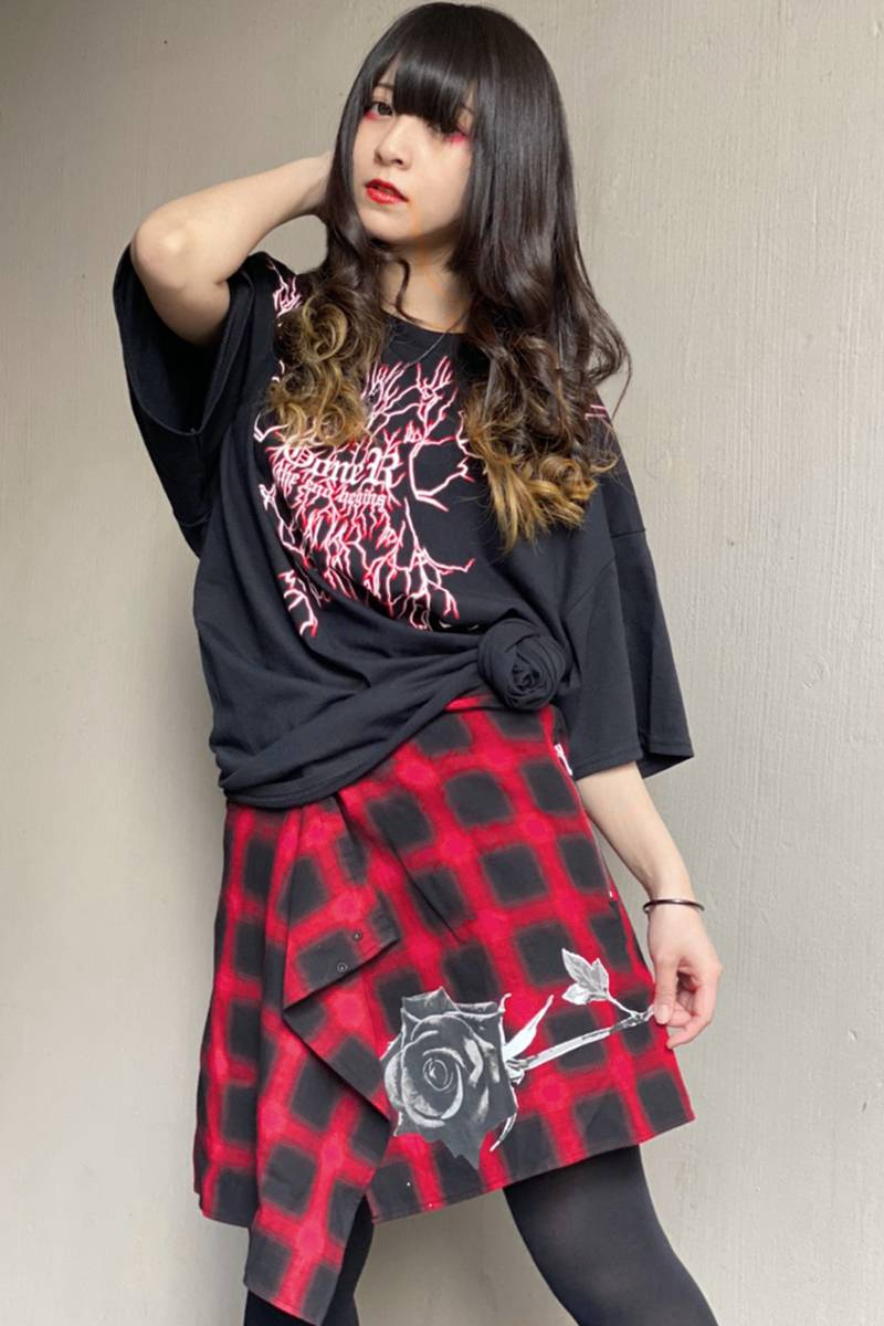 GoneR Rolled Shirts skirt Red Check