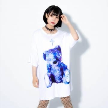 TRAVAS TOKYO Bright furry bearビッグTシャツ White