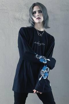 アマツカミ 蛇薔薇/Rose Snake Long T-Shirts Black
