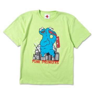 PUNK DRUNKERS REAL MONSTER.TEE LIME