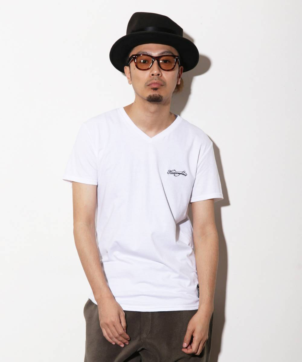 NineMicrophones V NECK TEE-Comrade- WHITE