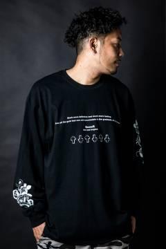 GoneR GR26LS002 Messege Rose Sleeve L/S T-Shirts Black