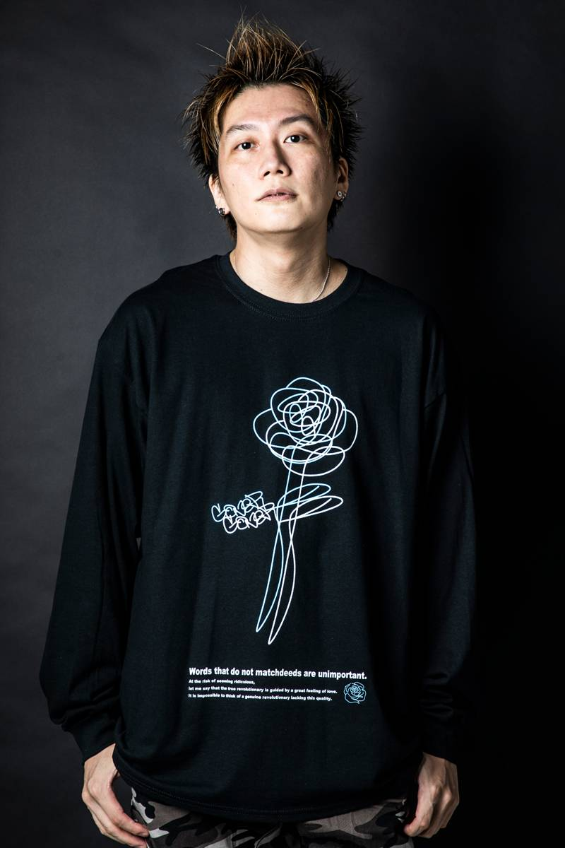 GoneR GR26LS001 Rough Rose L/S T-Shirts Black