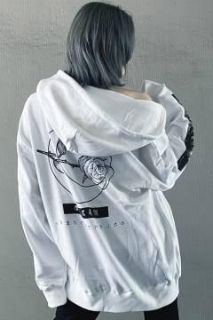 アマツカミ 棘薔薇/Rose Needle Hoodie White