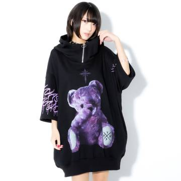 TRAVAS TOKYO Furry bear half zip high neck H/S hoodie BLACK/PURPLE