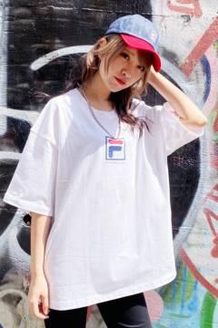 FILA FFM9836 ユニセックス クルーネックシャツ WHITE