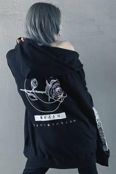 アマツカミ 棘薔薇/Rose Needle Hoodie Black