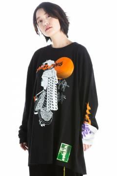 """HEDWiNG """"JYOCHO"""" Crosscut Longsleeve T-shirt Black"""